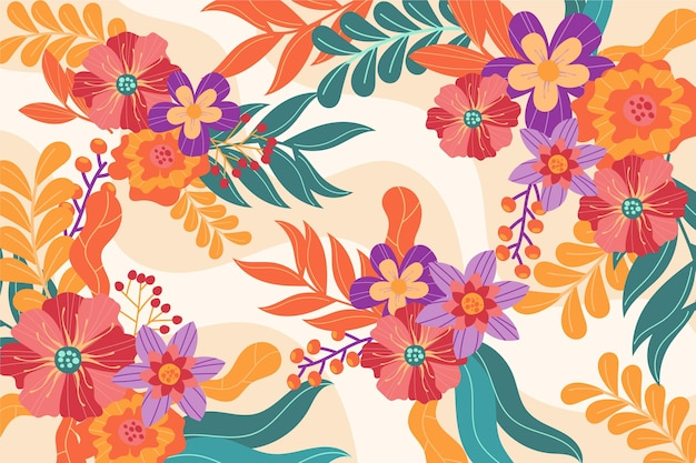 Geschilderd kleurrijk lente behang Gratis Vector