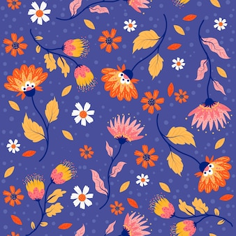 Geschilderd tropisch bladeren en bloemenpatroon