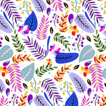 Geschilderd tropisch patroon met bloemen en bladeren