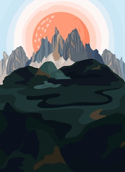 Geschilderde berglandschap illustratie