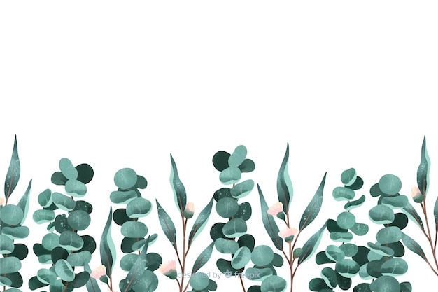 Geschilderde bladerenachtergrond met exemplaarruimte