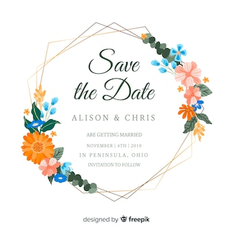 Geschilderde bloemenframe huwelijksuitnodiging