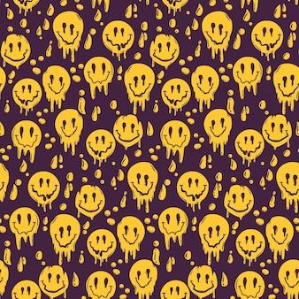 Geschilderde psycho vervormde emoticon patroon sjabloon