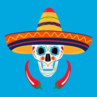 Geschilderde suikerschedel in sombrero en met chili. dag van de doden in mexico. dia de los muertos.