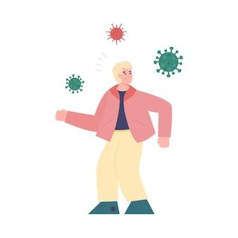 Geschokt man karakter doodsbang voor virussen platte vectorillustratie geïsoleerd