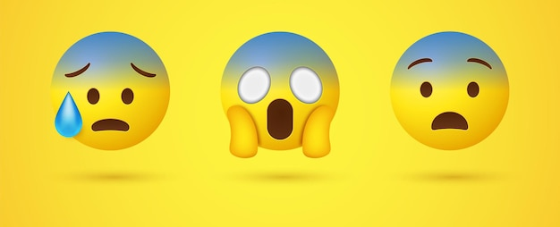 Geschokt schreeuwende emoji met twee handen met het gezicht of 3d triest angstige emoticon met zweet