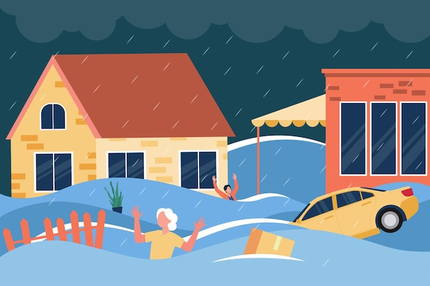 Geschokte mensen zwaaiende handen en riepen om hulp diep in het water tussen huizen, drijvende auto's en dozen