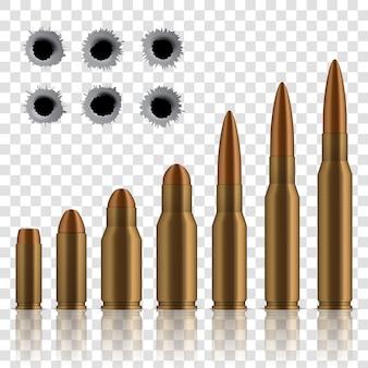 Geschoten geweerkogels, gaten, geweerschot, kaliberwapen.