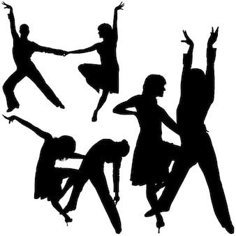 Gesilhouetteerde latino dansers