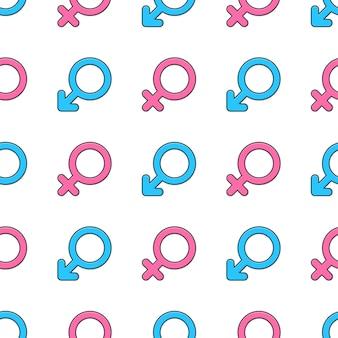 Geslacht symbool naadloos patroon op een witte achtergrond. mannelijke en vrouwelijke geslacht thema vectorillustratie