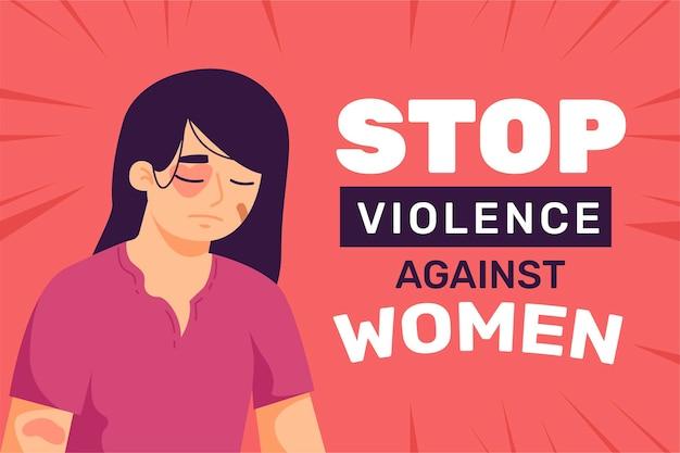 Geslagen vrouw met stop geweld tegen vrouwentekst