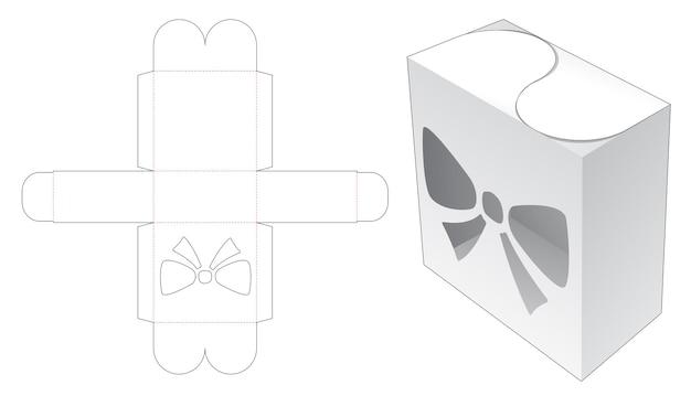 Gesloten doos met boogvormig venster en deksel gestanst sjabloon
