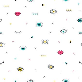 Gesloten en open ogenpatroon met geometrische vormen in memphis-stijl.