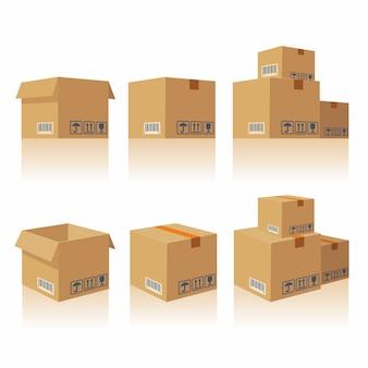Gesloten en open recycle bruine kartonnen levering verpakking met kwetsbare borden. collectie illustratie geïsoleerde vak op witte achtergrond voor web, pictogram, banner, infographic.