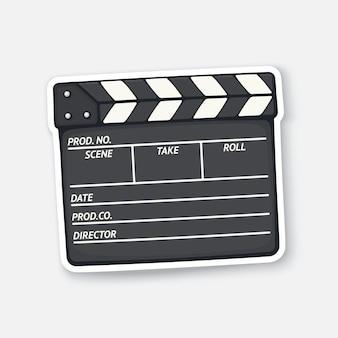 Gesloten filmklapper gebruikt in de bioscoop bij het opnemen van een film filmindustrie vectorillustratie