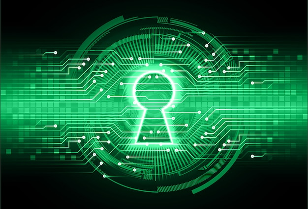 Gesloten hangslot op digitale achtergrond, cybersecurity