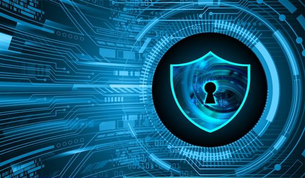 Gesloten hangslot op digitale cyberbeveiliging als achtergrond