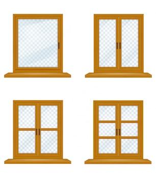 Gesloten houten venster met transparant glas voor ontwerp vectorillustratie