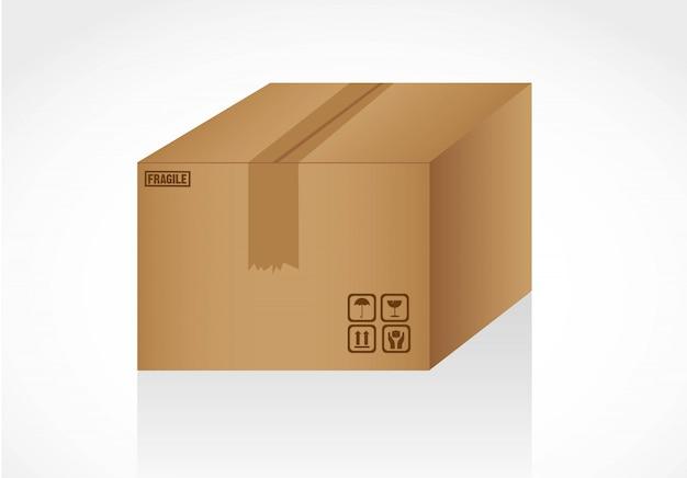 Gesloten kartonnen doos geïsoleerd op witte signalen
