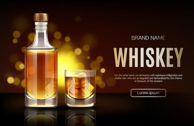 Gesloten lege fles met sterke alcoholische dranktribune op dark