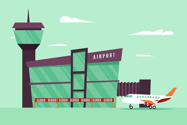 Gesloten luchthaven in pandemische tijd