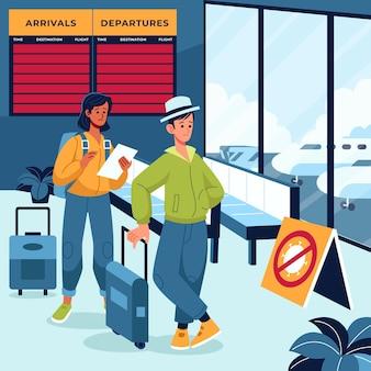 Gesloten luchthaven pandemie concept