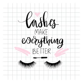Gesloten ogen met lange zwarte wimpers. kalligrafie zin voor meisjes, vrouw, schoonheidssalon