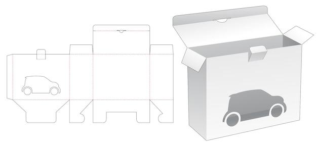 Gesloten puntdoos met auto cartoon raam gestanst sjabloon Premium Vector