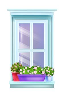 Gesloten retro huisraam exterieur vintage uitzicht met bloempotten, huisplanten, vensterbank, geïsoleerde bloesemrozen.