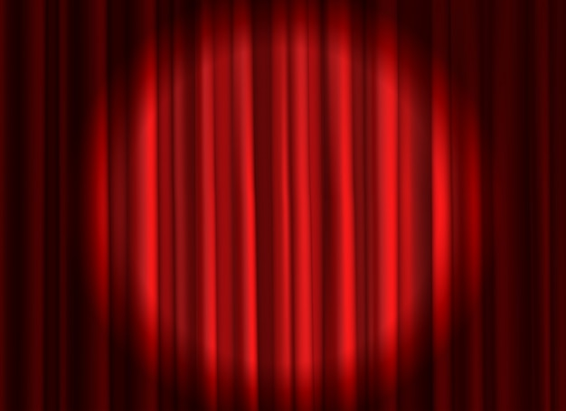 Gesloten rood gordijn. theatrale gordijnen podiumgordijnen openingsceremonie theaterfilm schijnwerper gesloten fluwelen stof achtergrond