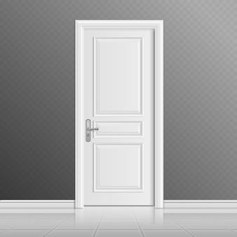 Gesloten witte ingangsdeurillustratie. deuropeningang binnenshuis, binnendeur
