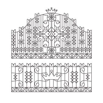 Gesmede poort en hek ontwerp illustratie
