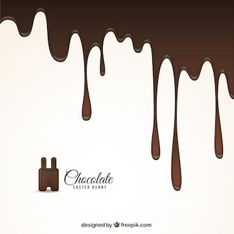 Gesmolten chocolade achtergrond voor pasen