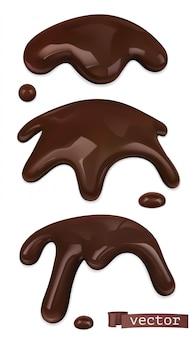 Gesmolten chocolade. chocoladedruppels en druppels. 3d-realistisch. voedsel illustratie