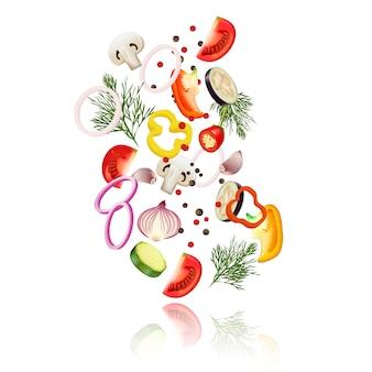 Gesneden groenten realistisch concept met tomatenpeper en ui vectorillustratie