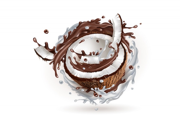 Gesneden kokosnoot in een melkachtige en chocolade splash.
