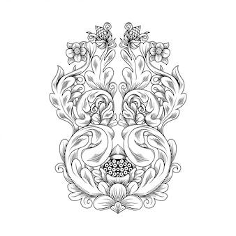 Gesneden opengewerkte patroon bloem illustratie. indonesië motief.