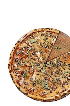 Gesneden pizza aquarel