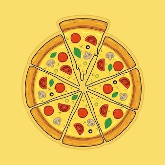 Gesneden pizza met worst salami champignons olijven basilicum tomaten en kaas
