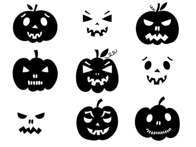 Gesneden pompoen gezichten. vector illustratie.