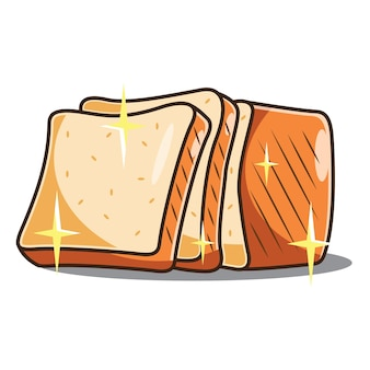 Gesneden toast bruin ras vector icon conceptontwerp. gratis vector