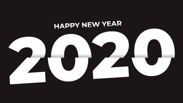 Gesneden witte kleur gelukkig nieuw jaar 2020