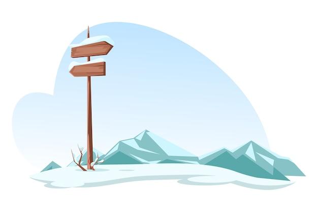 Gesneeuwde bergen en uithangbord hooglandenweg.