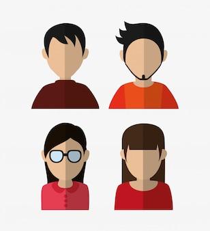 Gesorteerde mensen portret iconen afbeelding