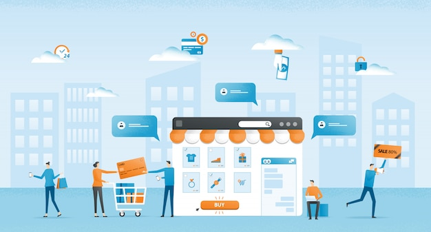 Gesprek commerce flt illustratie