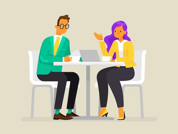 Gesprek van zakenmensen. een man en een vrouw bespreken het project, illustratie in vlakke stijl