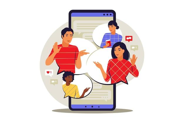 Gespreksconcept. man en vrouw praten met tekstballonnen op chat. vector illustratie. vlak.
