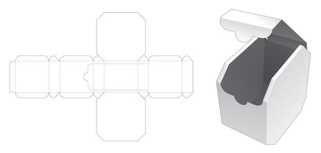 Gestanste sjabloon met achthoekige doos met ritssluiting