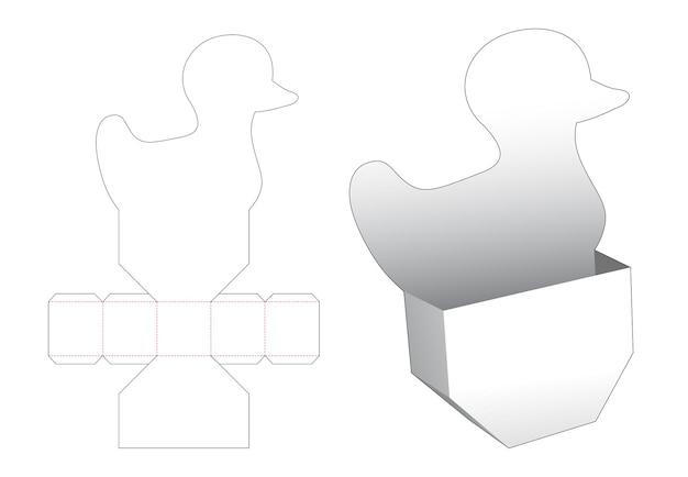 Gestanste sjabloon voor snackcontainer in de vorm van eend
