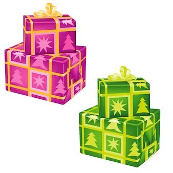 Gestapelde kerstcadeautjes set